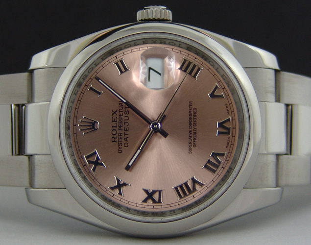 ROLEX - 36mm Stainless Steel DateJust Rose Roman Dial - 116200