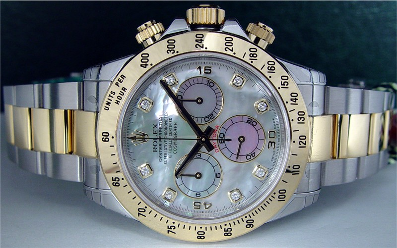 ROLEX - 18kt Gold & Stainless Steel Daytona Mother of Pearl Diamond Dial 116523
