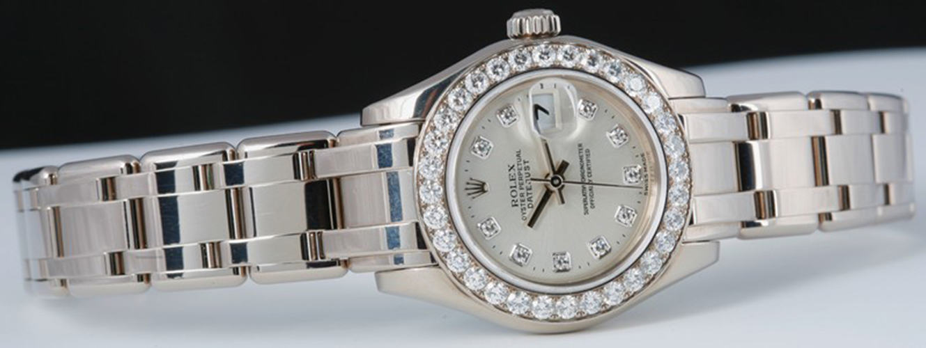 ROLEX - 29mm 18kt White Gold Ladies Silver Diamond Dial - MasterPiece 80299