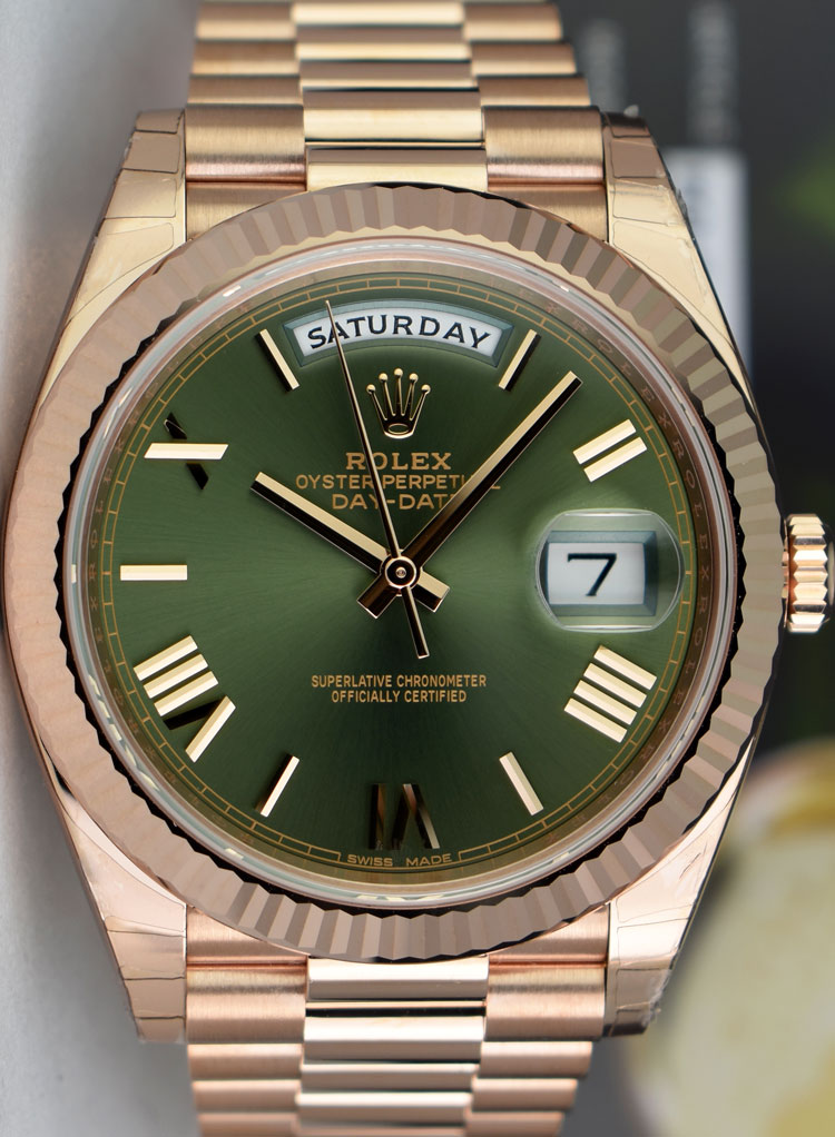 Details about ROLEX , 2019 Rose Gold DAY DATE 40 President Green Roman  228235 , SANT BLANC
