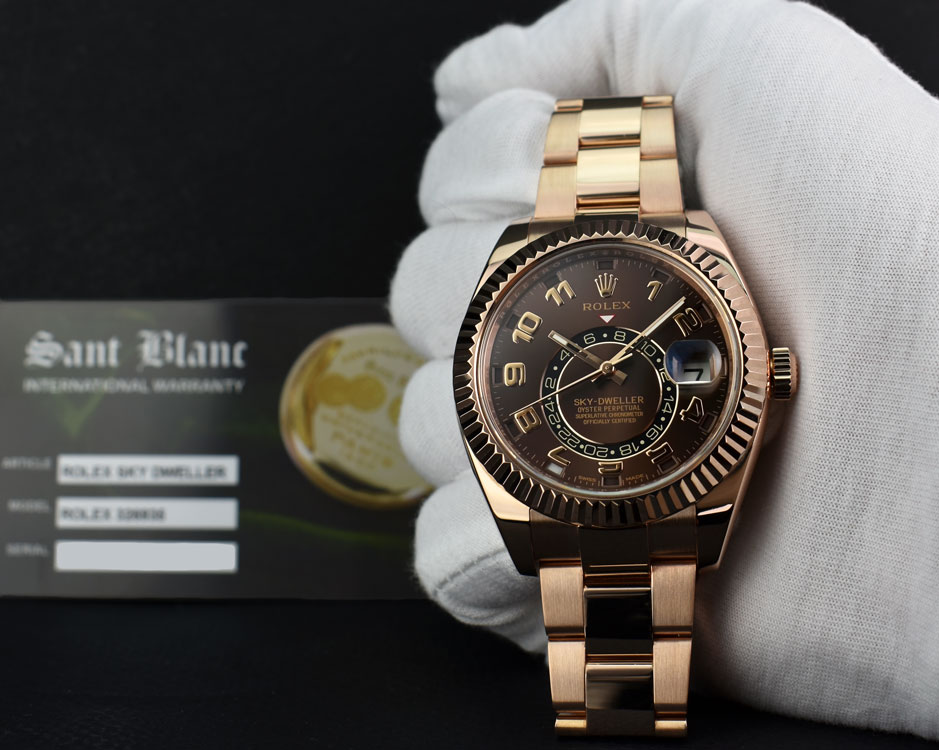 199d074a0f8 ROLEX - 2017 18kt Rose Gold Sky Dweller Chocolate Arabic 326935 ...